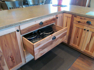 Deep drawer in custom kitchen cabinet